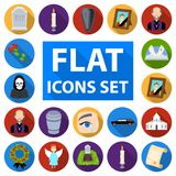 Funeral ceremony flat icons in set collection for design. Funerals and Attributes vector symbol stock web illustration. Royalty Free Stock Photos