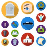 Funeral ceremony flat icons in set collection for design. Funerals and Attributes vector symbol stock web illustration. Royalty Free Stock Image