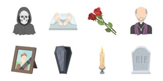 Funeral ceremony icons in set collection for design. Funerals and Attributes vector symbol stock web illustration. Royalty Free Stock Images