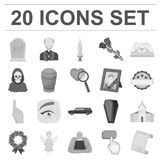 Funeral ceremony monochrome icons in set collection for design. Funerals and Attributes vector symbol stock web Royalty Free Stock Photography