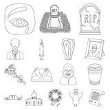 Funeral ceremony outline icons in set collection for design. Funerals and Attributes vector symbol stock web Royalty Free Stock Image