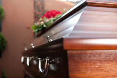 Funeral with coffin. Religion, death and dolor  - funeral and cemetery; funeral with coffin Stock Image