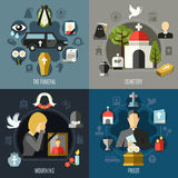 Funeral Concept Icons Set Stock Image