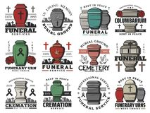 Free Funeral Cremation Urns, Cemetery Tombstone Crosses Royalty Free Stock Image - 160485256