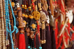 Traditional decoration in Buddhism. Buddhist prayer beads or malas. Royalty Free Stock Photography