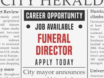 Funeral director career. Job hiring classified ad vector in fake newspaper royalty free illustration