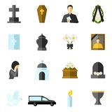 Funeral Flat Icons Set Stock Image