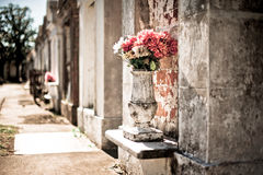 Funeral Flowers. Flowers and Tombs in Lafeyette Cemetery Stock Image