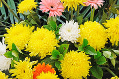 Funeral flowers for condolences. Chinese Funeral flowers for condolences,white and yellow chrysanthemum stock photo