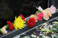 Funeral flowers for condolences. Chinese Funeral flowers for condolences,white and yellow chrysanthemum stock images