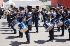 Marching band at the funeral service of Former Ethiopian President Dr. Negasso Gidada. Funeral of Former Ethiopian President Dr. Negasso Gidada that was attended stock photo