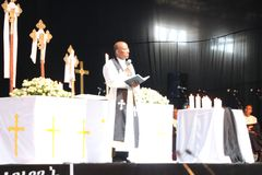 Funeral service of Former Ethiopian President Dr. Negasso Gidada. Funeral of Former Ethiopian President Dr. Negasso Gidada that was attended by thousands of stock image