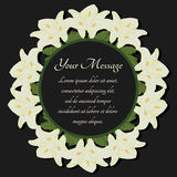 Funeral frame. Mourning illustration with flowers calla lilies. Royalty Free Stock Photography