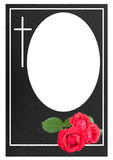 Funeral frame with red roses Stock Image