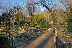 Funeral garden in `Melaten-Friedhof` cemetery, Cologne Royalty Free Stock Photo