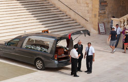 Funeral in Gozo. This is photographed just before a funeral in the island of Gozo Stock Images