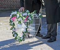 Funeral heart doves stock photos
