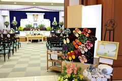 Funeral home. Interior of japanese style Royalty Free Stock Image