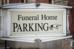 Funeral home parking sign Royalty Free Stock Images