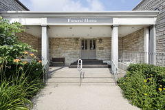 Funeral home with stone entry