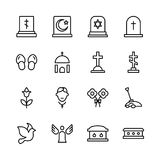 Funeral icon set Royalty Free Stock Images