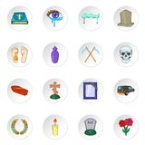 Funeral icons, cartoon style Stock Photos