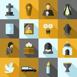Funeral Icons Flat Set Stock Photo