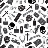 Funeral icons grayscale seamless pattern Stock Photography