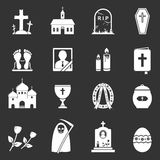 Funeral Icons. 16 Funeral icons. RIP icons set. Vector illustration Royalty Free Stock Images