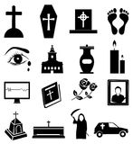 Funeral icons set Stock Images