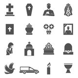 Funeral Icons Set Stock Photography
