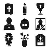Funeral Icons Set Stock Image