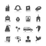Funeral icons set Stock Photo