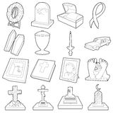 Funeral icons set, outline style Stock Image