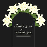 Funeral illustration. A memorial plate with flowers and an inscription. Royalty Free Stock Image