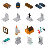 Funeral Isometric Icons Set Stock Images