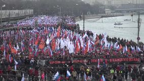 Funeral March of the opposition memory of the murdered politician Boris Nemtsov stock video footage