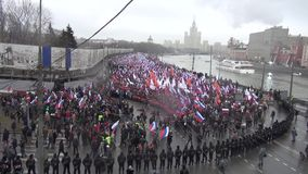 Funeral March of the opposition memory of the murdered politician Boris Nemtsov stock video