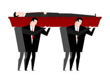 Funeral. Men carry coffin with dead. Red wooden coffin with corp Stock Photography