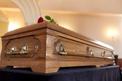 Coffin at funeral in church Stock Image