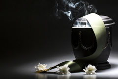 Funeral mourning urn, for obituary Stock Photo