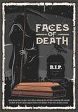 Funeral, muerte en la tumba del cementerio stock de ilustración