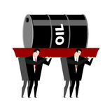 Funeral oil. Barrel of oil carried in coffin. Businessmen buried Royalty Free Stock Images