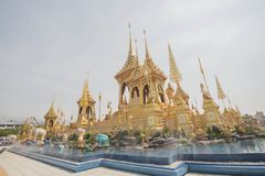 Funeral pyre. The funeral pyre of the king on the Sanam Luang stock images