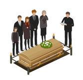 Funeral ritual, mourning concept. Burial, grave, dead, coffin icon or symbol. Cartoon vector illustration. Funeral ritual concept. Burial, grave, coffin icon or Stock Photography