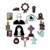 Funeral ritual service icons set, cartoon style. Funeral ritual service icons set. Cartoon illustration of 16 funeral ritual service vector icons for web Stock Image