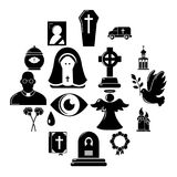 Funeral ritual service icons set, simple style. Funeral ritual service icons set. Simple illustration of 16 funeral ritual service vector icons for web Royalty Free Stock Images