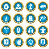Funeral ritual service icons set, simple style. Funeral ritual service icons set. Simple illustration of 16 funeral ritual service vector icons for web Stock Photo