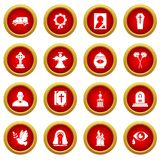 Funeral ritual service icons set, simple style. Funeral ritual service icons set. Simple illustration of 16 funeral ritual service vector icons for web Stock Photos
