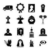Funeral ritual service icons set, simple style. Funeral ritual service icons set. Simple illustration of 16 funeral ritual service vector icons for web Stock Photography